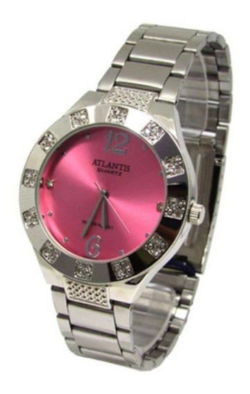 Relogio Atlantis Feminino G3451 Fundo Rosa