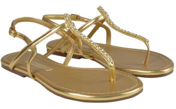 Sandália Rasteira Dourada Com Detalhe Em - Frete Grátis
