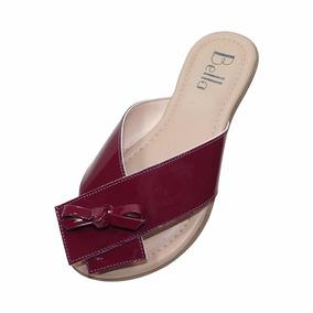 Sandália Rasteira Bella Shoes Verniz Vinho
