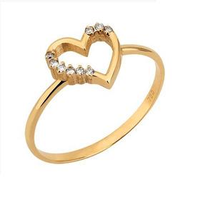 Anel De Ouro 18k Coração De Diamantes Naturais Vivarjoia B02
