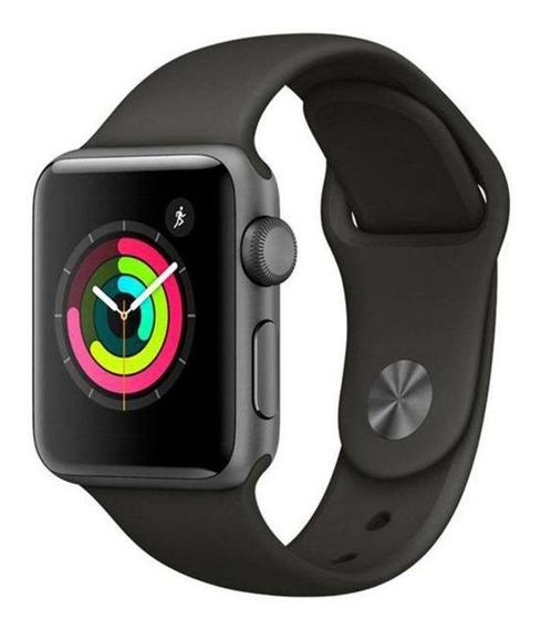 Apple Watch Series 3 Gps - 38 Mm Caixa Cinza-espacial De Alumínio Com Pulseira Esportiva Preta