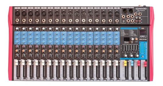 Mesa De Som 16 Canais Efeitos Gravação Direto Usb - Ms162eux