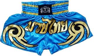 Short Calção De Muay Thai T.f.wear; Blue Pool/golden/tribais