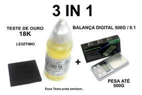 Kit Teste Ouro - Pedra De Toque + Ácido 18k + Balança 500g