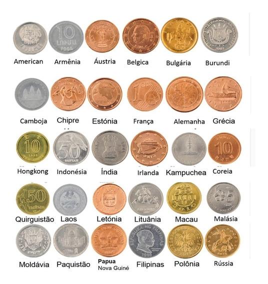 Coleção Moedas Genuínas 30 Peças Diferentes Países Do Mundo