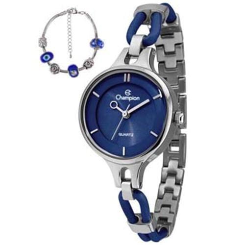 Relógio Champion Ca28387 Analógico Casual De Aço Fundo Azul Tamanho M + Pulseira