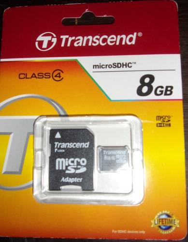 Imagen 1 de 1 de Memoria Micro Sd Transcend 8 Gb Clase 4 Nueva