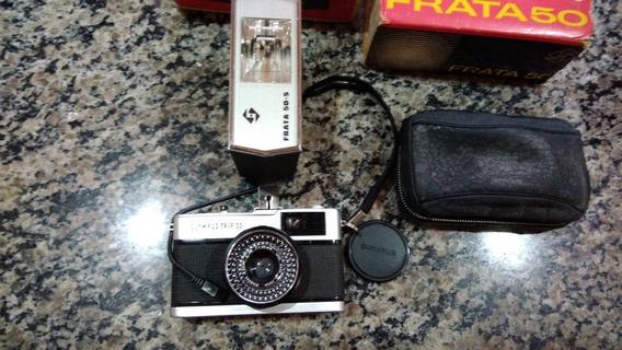 Câmera Olympus Antiga Com Flash Frata Funcionando.