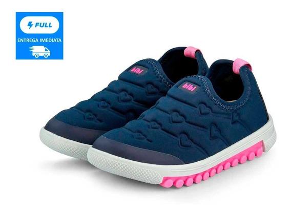 Tênis Menina Infantil Roller Bibi Azul E Pink Sem Cadarço