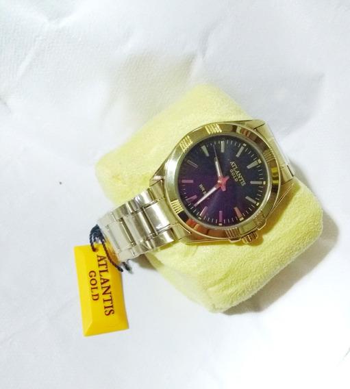 Relógio Masculino Dourado E Preto Atlantis G3161 Original