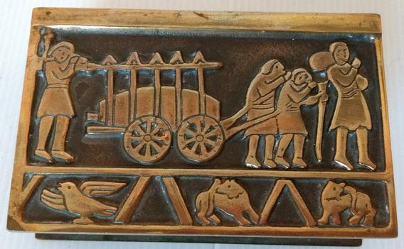 Antiguo Porta Caja Fósforos Bronce Importado Nordisk Malm