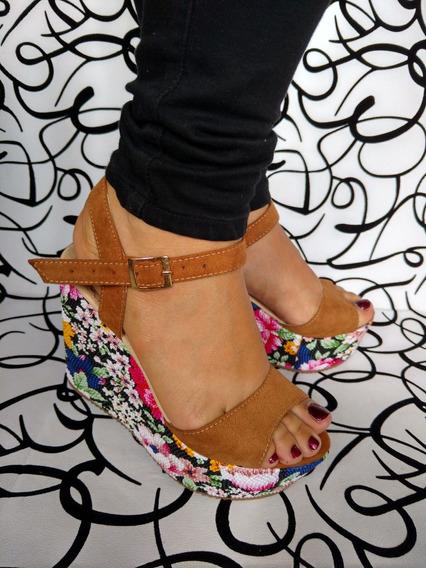 Zapato Alto Miel En Plataforma Flores De Moda Envío Gratis