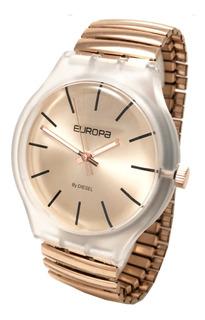 Reloj Europa By Diesel Elastizado Rose Dorado Mujer 4500