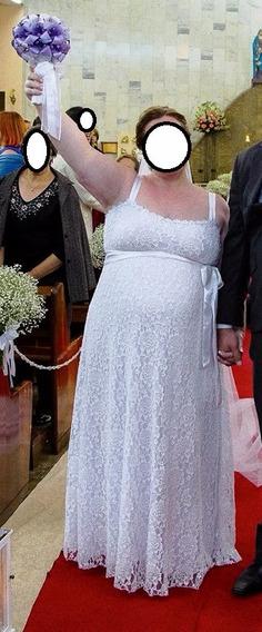 Vestido De Noiva - Longo Renda (elastano) - Gestante Tam: Gg