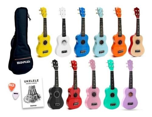 Imagen 1 de 9 de Ukelele Soprano Midiplus Madera Varios Colores + Funda