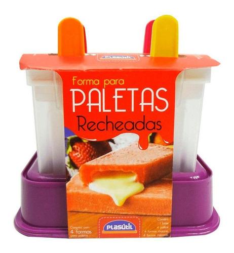 Imagem 1 de 4 de Forma Paleta Mexicana Recheada Molde Sorvete Picolé 4 Pçs