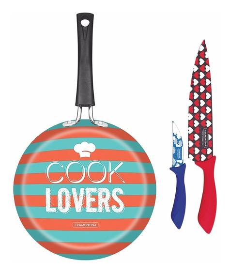 Sartén Viva Cook Lovers Con Juego De Cuchillos Tramontina