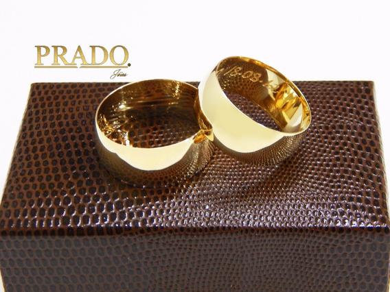 Par De Alianças De Ouro 18k Tradicional 10mm