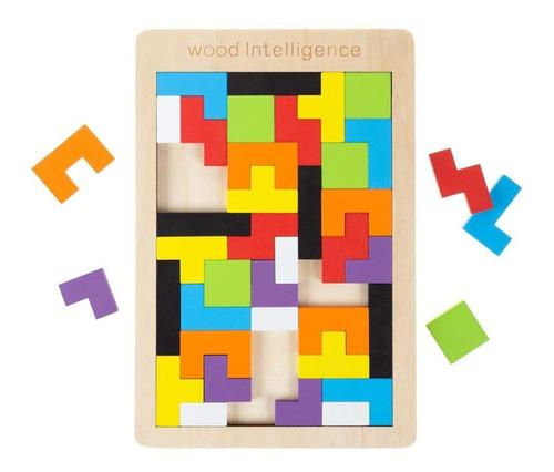 Imagen 1 de 5 de Juguete Didáctico Educativo Madera Ligera Tangram Tetris