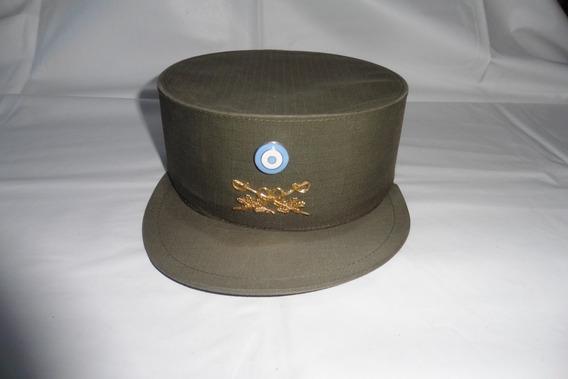 Birrete Armado Rígido-tela Saten Verde Gendarmería Nacional