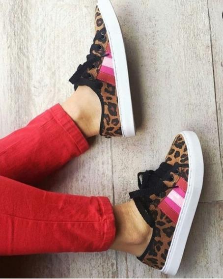 Zapatillas Mujer Animal Print Marca Larena Rock Numero 36