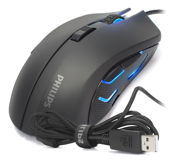 Mouse Gamer Philips G313 Pc Led Usb Fio 2400 Dpi 6 Botões