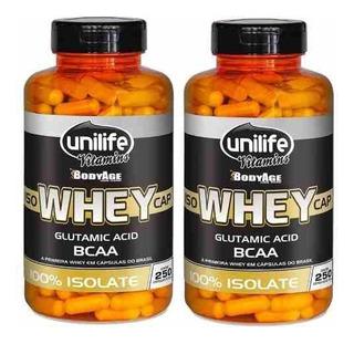 Kit 2 Whey Protein 100% Isolada - Unilife - 250 Cápsulas