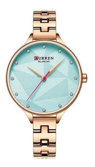 Relógio Curren Feminino De Pulso Mod C9047l - Rose E Azul
