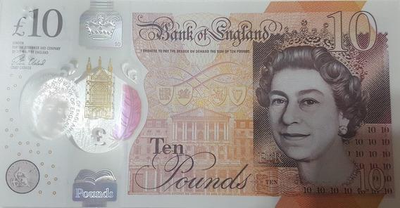Cédula £ 10 Libras Uk. Inglaterra. Polímero 2016.. Fe