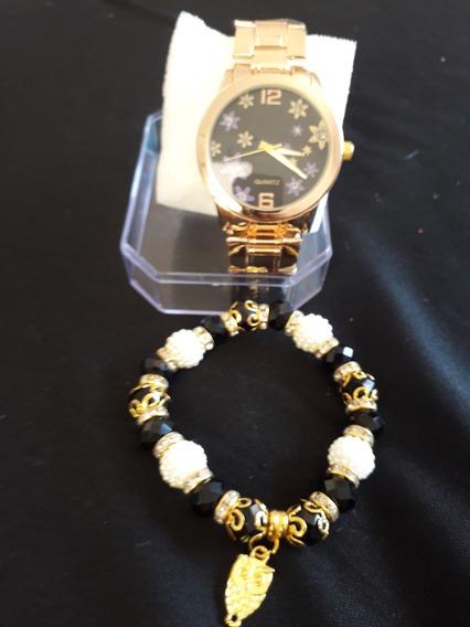 Kit Relógio E Pulseira Corujinha