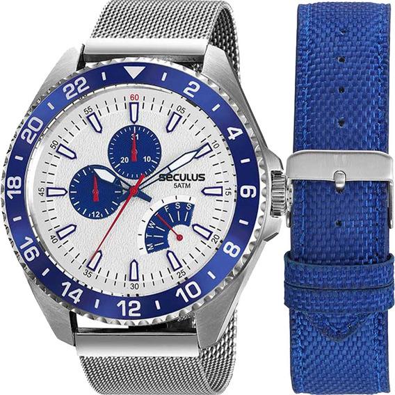 Kit Relógio Masculino Seculus Troca Pulseira 20793g0svna1