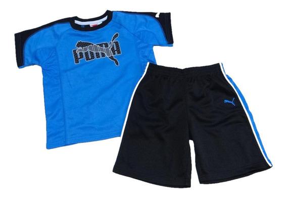 Conjunto Verão Infantil Menino Short Camiseta Dryfit Puma 4x