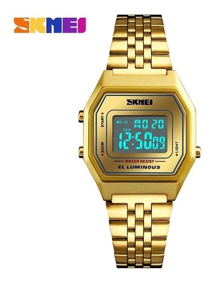 Relógio Feminino Dourado Digital Original Barato C/ Garantia