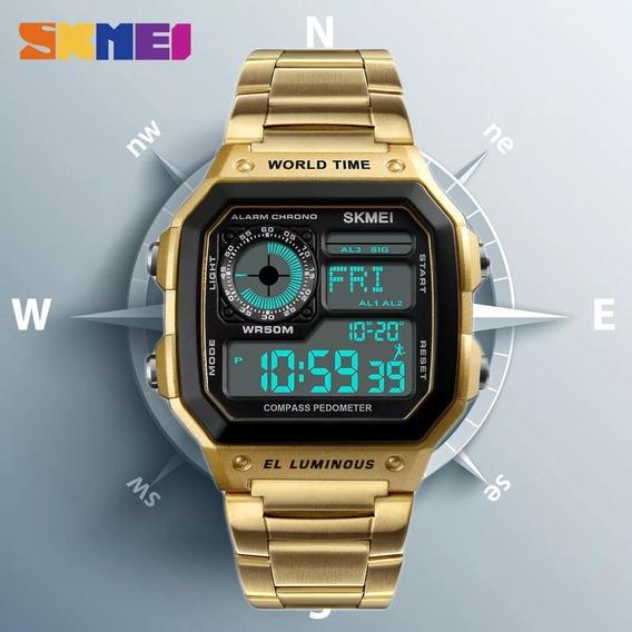 (novo) Relógio Skmei 1335 Original Pulseira Em Aço Retro