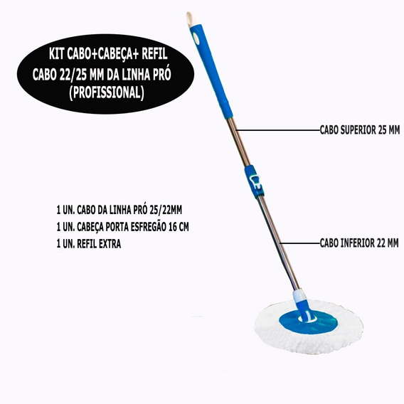 Kit Cabo Mop Profissional 25mm + Base + 1 Unid. Refil Extra
