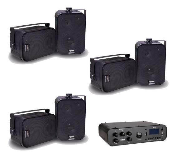 Kit Som Ambiente Amplificador Sa10 + 3 Pares Caixa Sp400 Nca