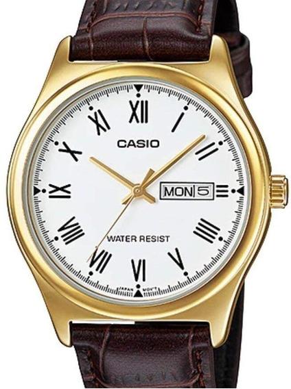 Relógio Casio Masculino Collection Couro Mtp-v006gl-7budf