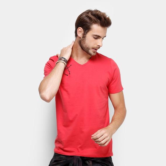 Camiseta Gola V Masculina Básica Lisa Algodão Camisa Blusa