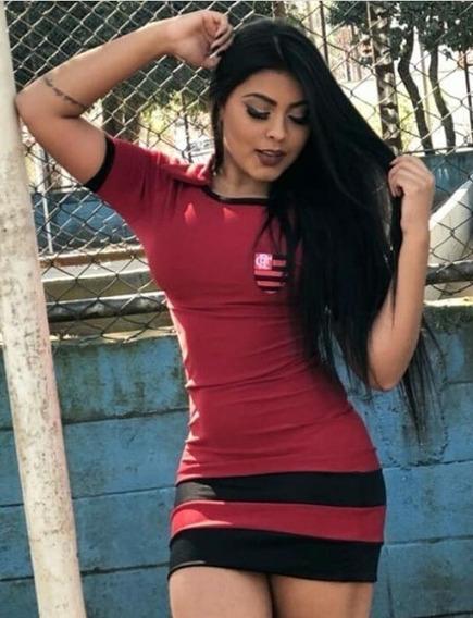 Vestido Curto Casual Moda Feminina Roupa Time Flamengo Top