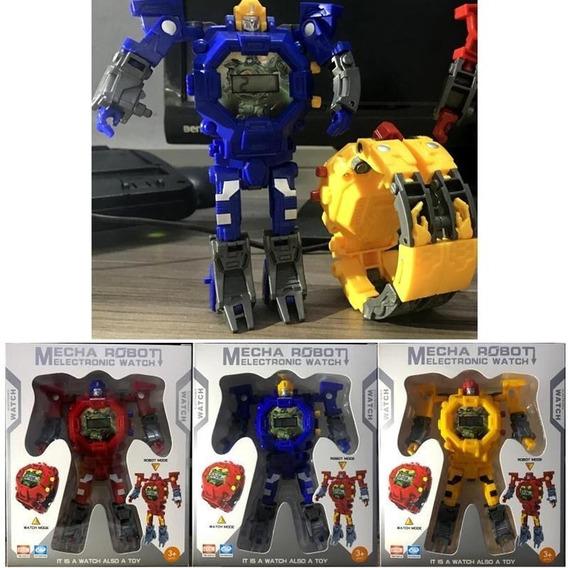 2 Relógios Robô Transformer / Vira Brinquedo + Brinde