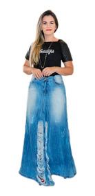 Saia Feminina Jeans Modelo Pitbull Destroyed Rasgada