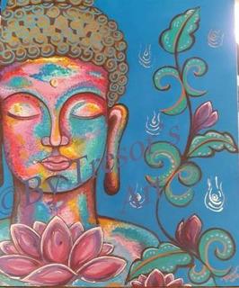 Arte Pintura Rostro Buda En Acrilico Pop Art Pieza Original