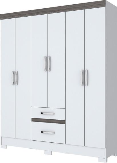 Guarda-roupa Casal Briz Com 6 Pts E 2 Gav Branco/gris(i)