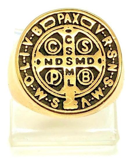 Anel São Bento Cruz Sagrada Medalha Beneditino Proteção Dourado Prateado Aço 316l