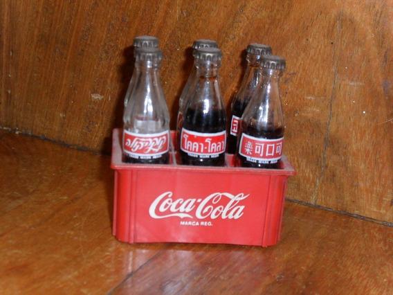 6 Botellitas Miniatura Coca Cola Con Cajon Decada Del 80