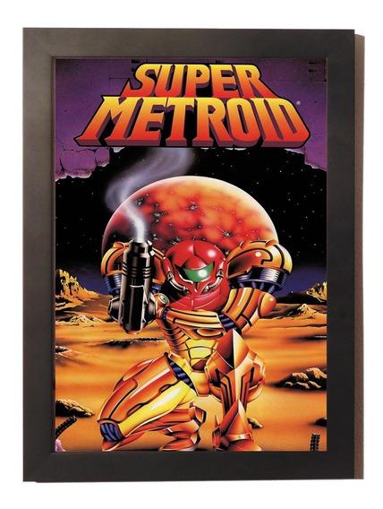 Quadro Poster Com Moldura Super Metroid 2 Super Nintendo