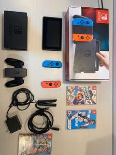 Nintendo Switch+fifa19 + Super Smash Bros+ Super Mario Party