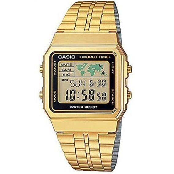 Relogio Unissex Vintage World Time A500wga-1df - Dourado