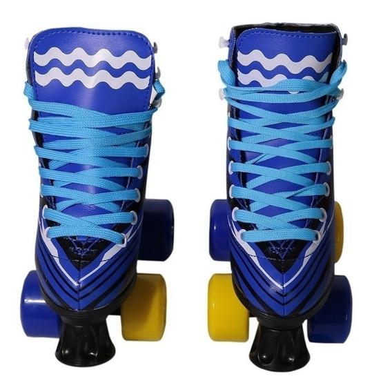 Patins 4 Rodas Roller Clássico Infantil Azul Bw020 Inmetro