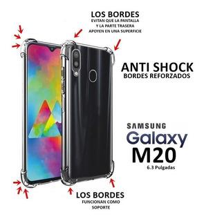 Funda Tpu Borde Reforzado Para Samsung M20 + Vidrio Templado + Envió